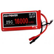 Аккумулятор AGA POWER Li-Po 16000mAh 22.2V 6S 25C Softcase 59x75x170мм AS150+XT150